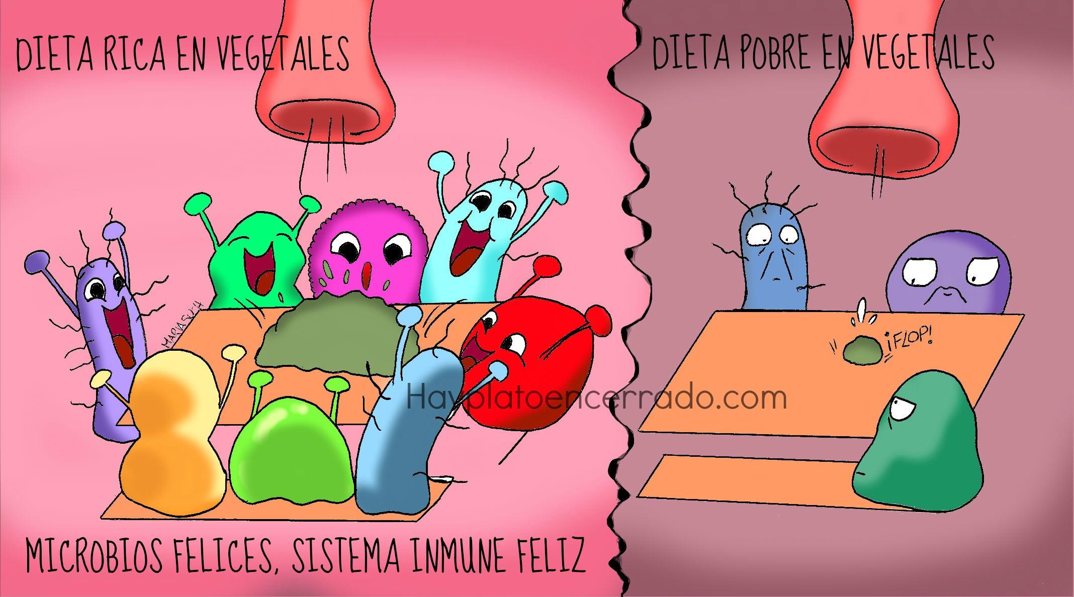 microbiota feliz y triste viñeta flora intestinal